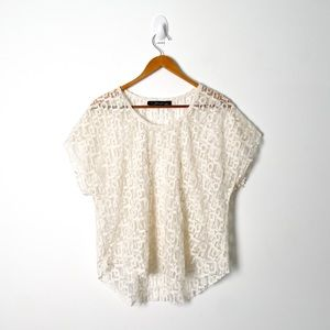 Cream Sheer Lace Knit Bohemian Short Sleeve Top